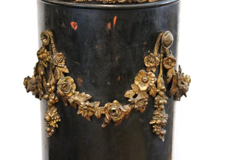 French Belle Époque Ebonized Wood Column Pedestal with Ormolu Detailing For Sale 1