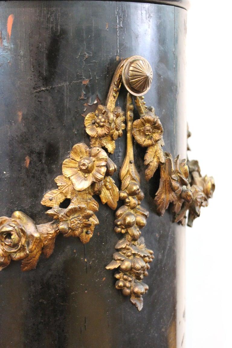 French Belle Époque Ebonized Wood Column Pedestal with Ormolu Detailing For Sale 3