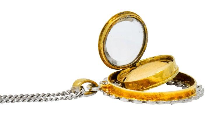 French Belle Époque Edwardian Diamond Enamel Platinum 18 Karat Gold Necklace For Sale 7