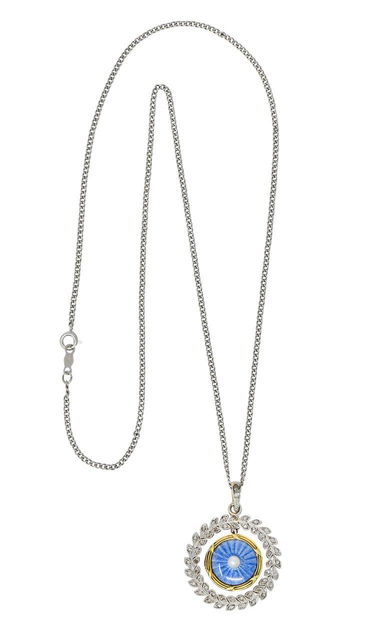 French Belle Époque Edwardian Diamond Enamel Platinum 18 Karat Gold Necklace For Sale 8