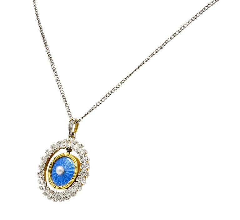 French Belle Époque Edwardian Diamond Enamel Platinum 18 Karat Gold Necklace In Excellent Condition For Sale In Philadelphia, PA
