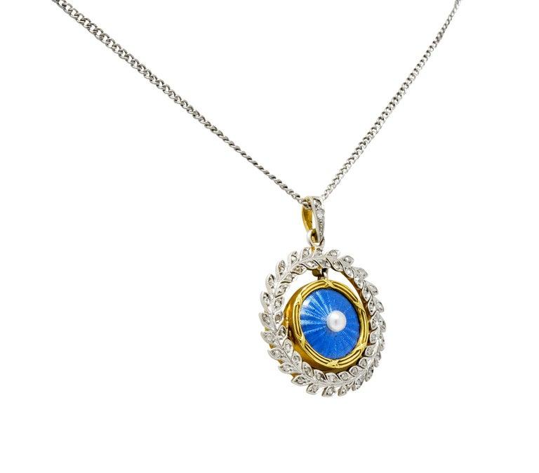 Women's or Men's French Belle Époque Edwardian Diamond Enamel Platinum 18 Karat Gold Necklace For Sale
