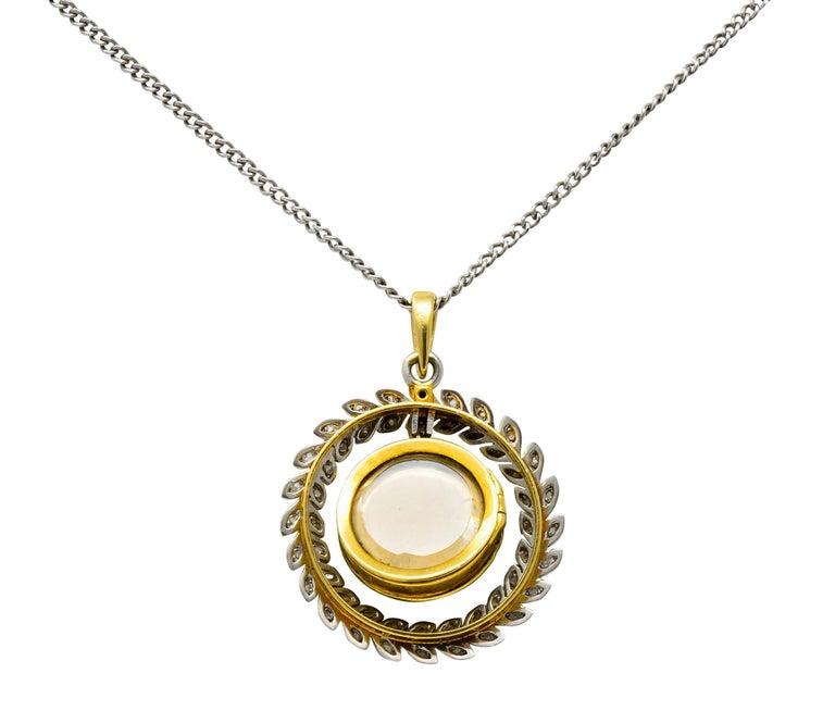French Belle Époque Edwardian Diamond Enamel Platinum 18 Karat Gold Necklace For Sale 3