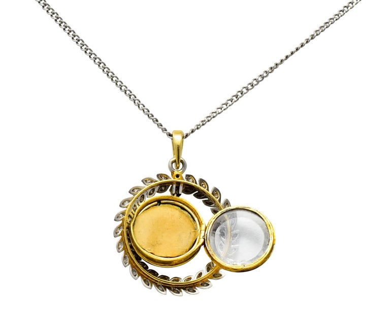 French Belle Époque Edwardian Diamond Enamel Platinum 18 Karat Gold Necklace For Sale 4