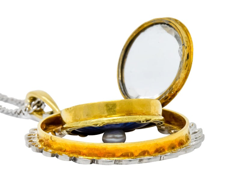 French Belle Époque Edwardian Diamond Enamel Platinum 18 Karat Gold Necklace For Sale 5