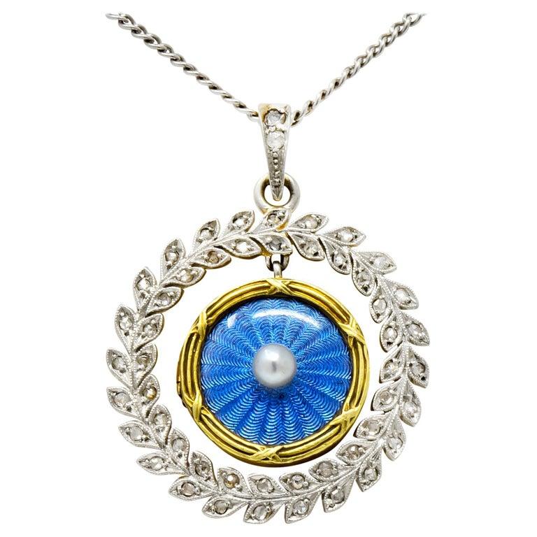 French Belle Époque Edwardian Diamond Enamel Platinum 18 Karat Gold Necklace For Sale