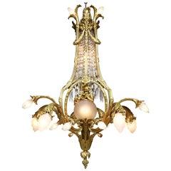 French Belle Époque Gilt-Bronze and Cut-Glass Figural Cherub & Putto Chandelier