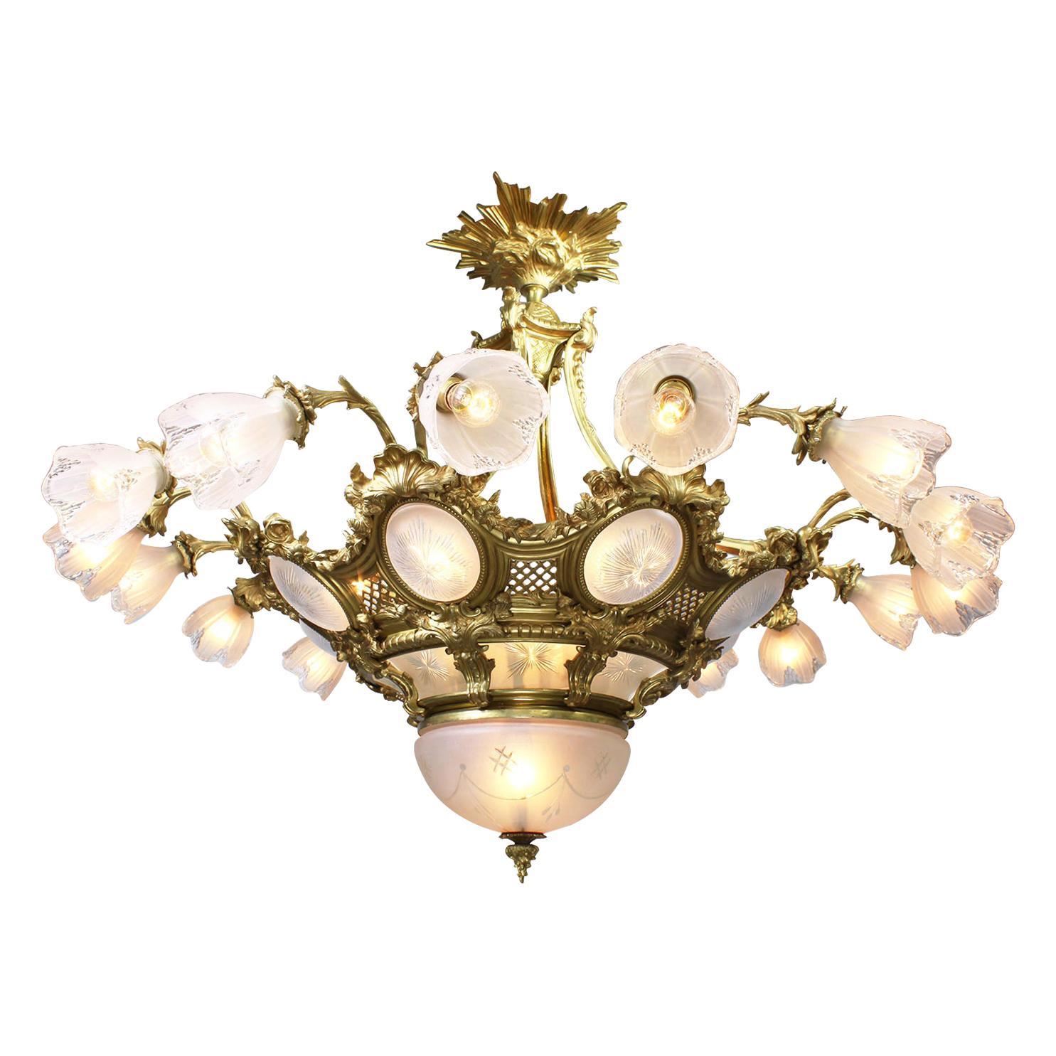 French Belle Époque Gilt-Bronze & Molded Glass 16 Light Plafonnier Chandelier