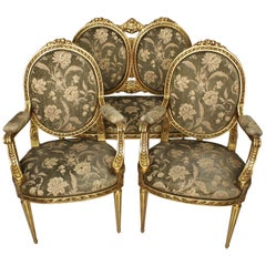 French Belle Époque Louis XVI Style Giltwood Carved 3-Piece Parlor Salon Set