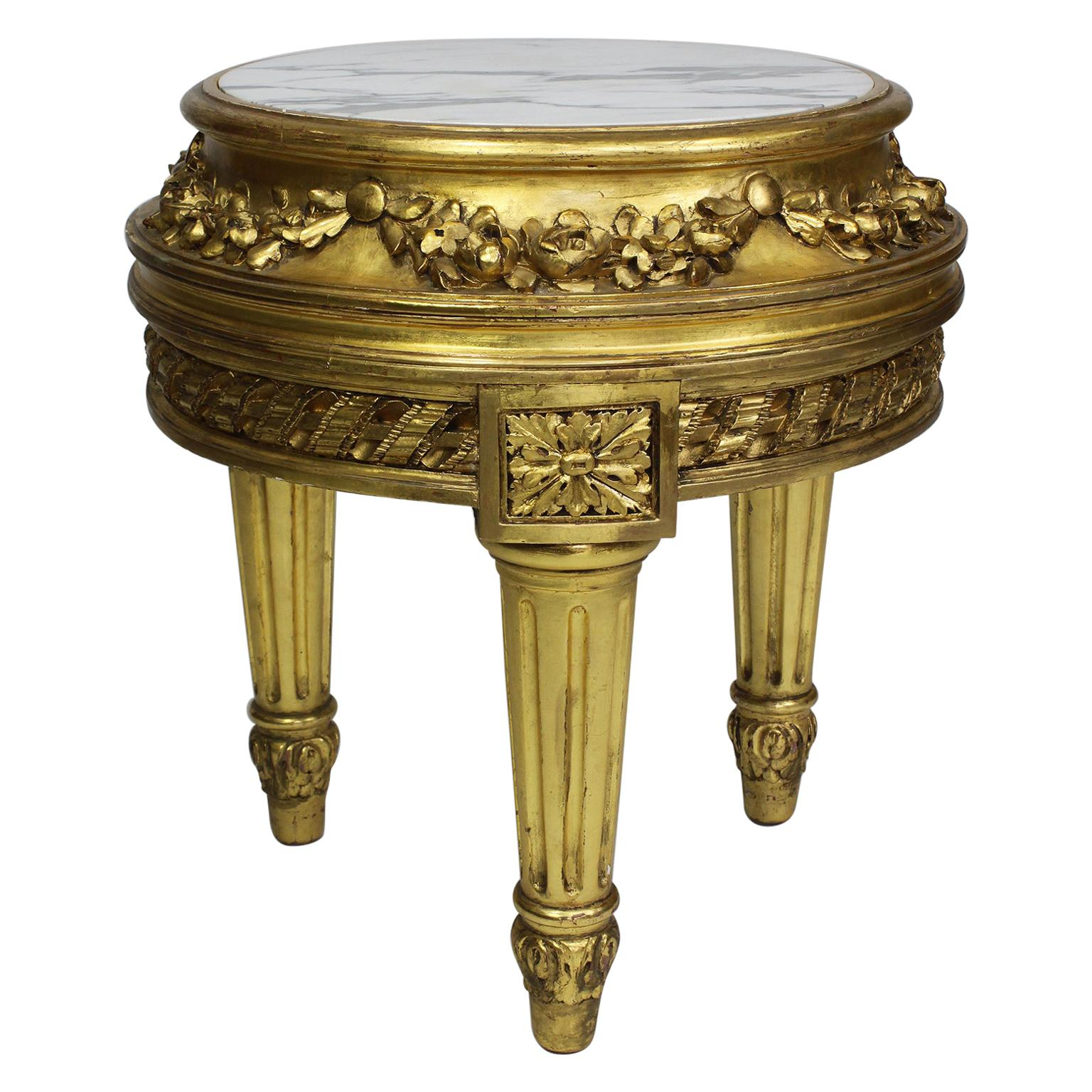 Belle Époque Louis XVI Style Giltwood Carved Pedestal Stand with Marble Top