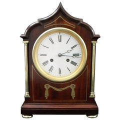French Belle Époque Mahogany Brass Inlaid Mantel Clock by Samuel Marti