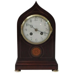 French Belle Epoque Mahogany Inlaid Mantel Clock by Samuel Marti