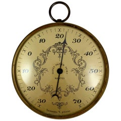 French Belle Époque Nantes Hanging Brass & Convex Glass Celsius Thermometer