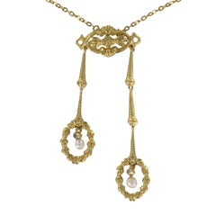 "French ""Belle Époque"" Natural Pearl and Yellow Gold Pendant Necklace"