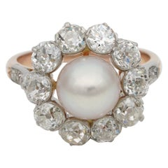 French Belle Époque Natural Salt Water Pearl 2.60 Ct G VVS Diamond Cluster Ring