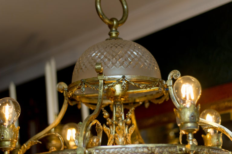 French Belle Époque Nine-Light Chandelier For Sale 6