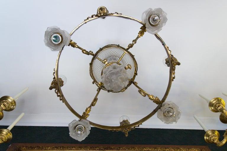 French Belle Époque Nine-Light Chandelier For Sale 9