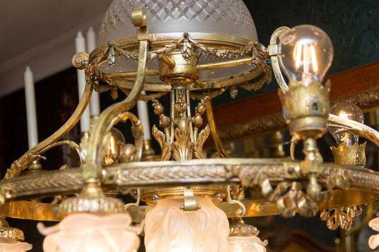 French Belle Époque Nine-Light Chandelier For Sale 13