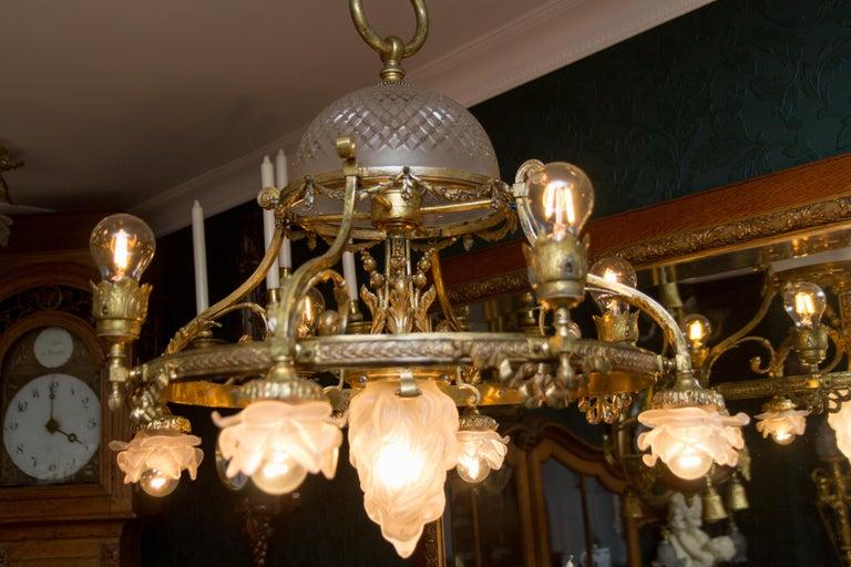 French Belle Époque Nine-Light Chandelier For Sale 14