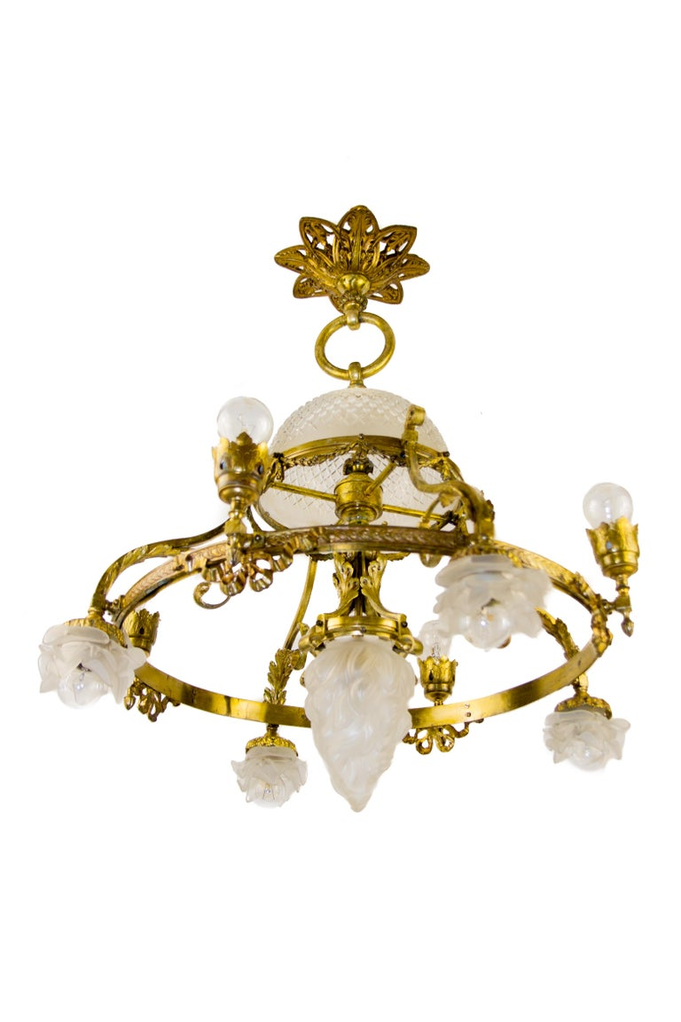 Frosted French Belle Époque Nine-Light Chandelier For Sale