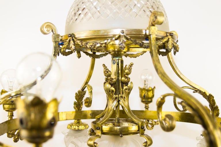 20th Century French Belle Époque Nine-Light Chandelier For Sale