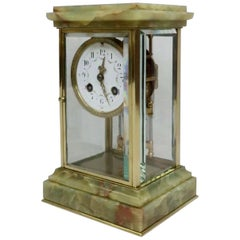 French Belle Epoque Onyx and Brass Four Glass Mantel Clock by Samuel Marti