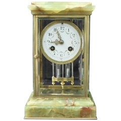 French Belle Epoque Onyx and Brass Four Glass Mantel Clock