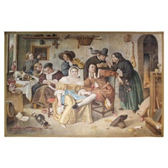 French Belle Epoque Painted Tapestry after Jan Steen 'Beware of Luxury'