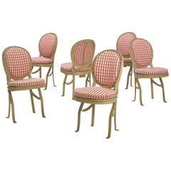 French Belle Époque Painted Theater Seats Dining Chairs circa 1890, Set of 6