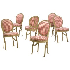 French Belle Époque Painted Theater Seats Dining Chairs, circa 1890, Set of 6