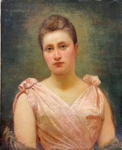 Original 1890s French Belle Epoque Period Signed Oil Portrait Lady in Pink Dress