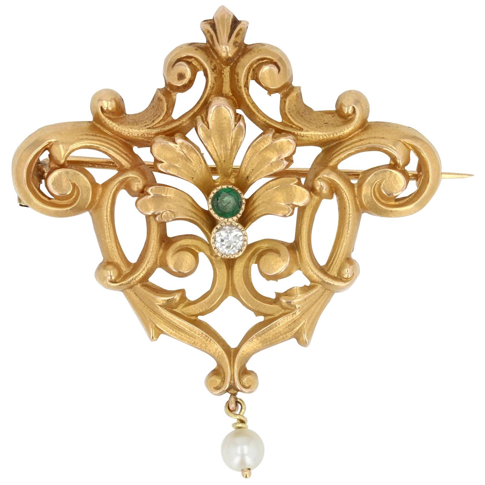 French Belle Époque Pearl Emerald Diamond 18 Karat Yellow Gold Brooch Pendant