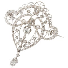 French Belle Époque Platinum and Diamond Brooch and Pendant