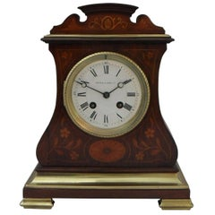 French Belle Époque Rosewood Inlaid Mantel Clock by A.D Mougin