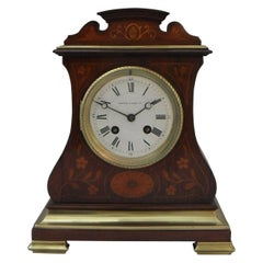 French Belle Époque Rosewood Inlaid Mantel Clock