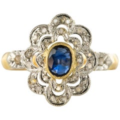 French Belle Époque Sapphire Diamonds 18 Karat Yellow Gold Daisy Ring