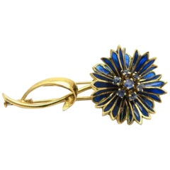 French Belle Époque Sapphire Enameled Flower Brooch by Mellerio #2738 BR