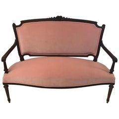 FRENCH Belle Époque SETTEE in LOUIS XVI Style Rose Pink Velvet Upholstery 1880