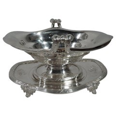 French Belle Epoque Silver Sauce Boat on Integral Stand by Odiot