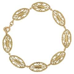 French Belle Epoque Style 18 Karat Yellow Gold Filigree Bracelet