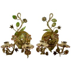 French Belle Époque Tôle Peinte Hand Painted Metal Floral Wall Sconces, a Pair