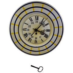 French Belle Époque Tôle Peinte Wall Clock with Winding Key