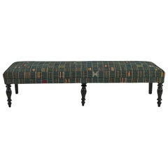 French Bench Upholstered in One of a Kind West African Fabric