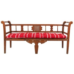 French Bench with Carved Wooden Details