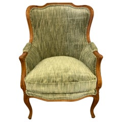 French Bergère Chair Newly Upholstered in Crushed Velvet Clarence House Textile