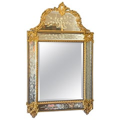 French Beveled and Etched Glass Mirror with Brass Overlay