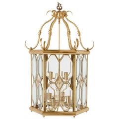 French Beveled Glass and Brass Lantern