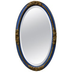French Beveled Mirror Blue with Gold Gilded Roses