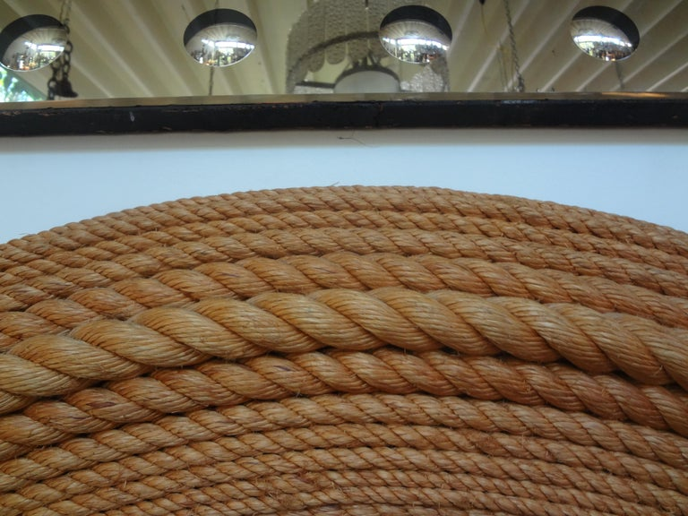 European French Round Rope Beveled Mirror by Audoux & Minet For Sale