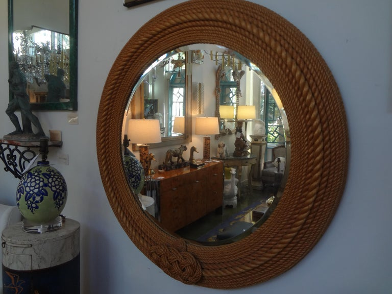 French Round Rope Beveled Mirror by Audoux & Minet In Good Condition For Sale In Houston, TX